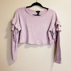 Forever 21 Pink Crop Top Ruffle Sweater